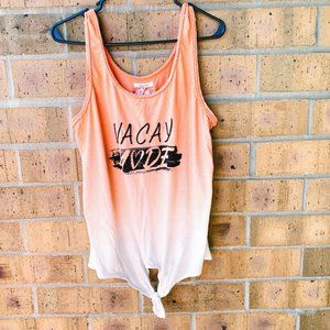 Maurices Vacay Mode Graphic Tank w/ Tie Front